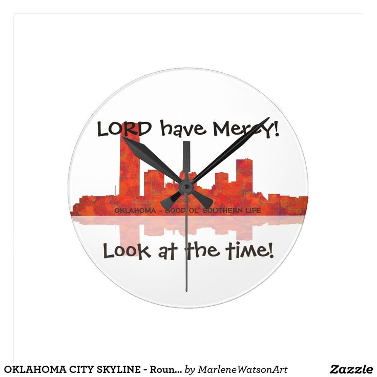 OKLAHOMA CITY SKYLINE - Round Wall Clock Round Wall Clocks