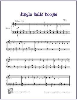 Jingle Bells Boogie (Christmas)   Free Sheet Music for Easy Piano - http://makingmusicfun.net/htm/f_printit_free_printable_sheet_music/jingle-bells-boogie-piano-solo.htm