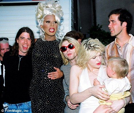 History: Dave Grohl with his Nirvana bandmates and Ru Paul at the 1993 MTV Video Awards, bottom right is Courtney with baby Frances