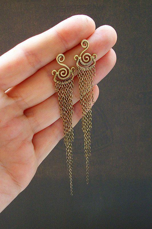 LONG earrings, brass.  by KL-WireDream on DeviantArt