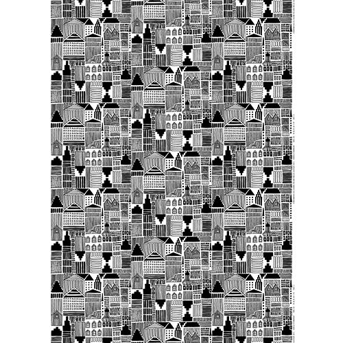 "Titled ""Looking for Happiness"" in Finnish, Maija Louekari's pattern on this 100% cotton fabric makes it easy to see why so many flee to the big city in search of prosperity. Marimekko Onnea Etsimässä White/Black Fabric - $53"