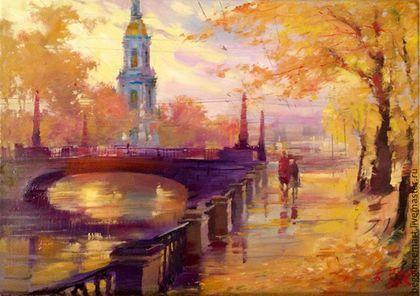 Картина масло, холст `Осень, Крюков канал` 21х30
