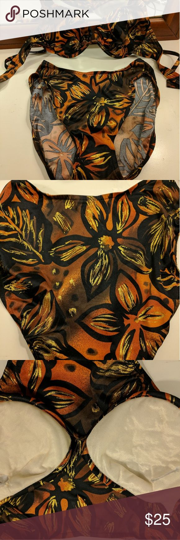 Vintage Hi Rise Bikini size M 36/C Never worn.. very beautiful and trendy with the hi rise bottoms and structured top.. colors are gold, orange, browns, blacks.. I cut the extra padding out as you can see in picture #3.. Doesn't distort at all.. If you need measurements please just ask.  I consider ALL offers, yes even the low ball ones 😉 I'll counter with my lowest.. please consider bundling as i do offer a 20% off just 2 items.. if you bundle stuff up, instead of just liking... I'll also…