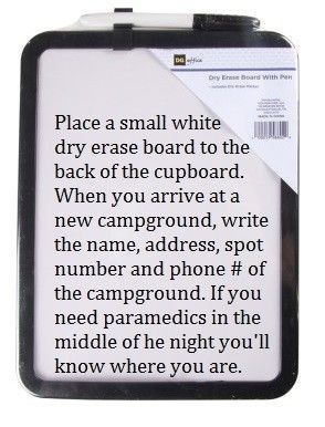 Here's a great use for a dry erase board: | 37 RV Hacks That Will Make You A Happy Camper