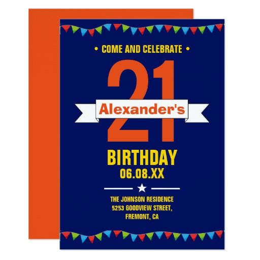 439 best 21st birthday party invitations images on pinterest modern colorful typography 21st birthday party card stopboris Choice Image