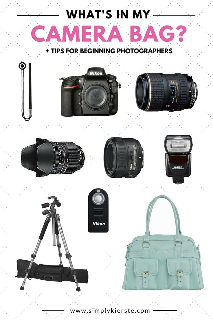 A list of all the things in my camera bag, plus tips for beginning photographers! Cameras, lenses, tripods, flashes, bags, and more!