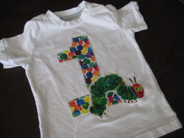 Very Hungry Caterpillar Short Sleeve Birthday shirt - Boy or Girl - 1st, 2nd, 3rd, 4th - see pictures. $22.00, via Etsy.