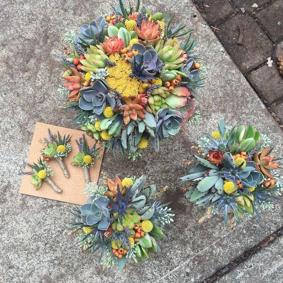 Succulent bouquet with dried flowers by bohemianbouquets on Etsy