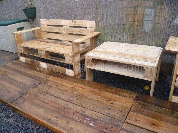 P1010928 600x450 Mon nouveau set de jardin / Pallets garden set in pallet garden  with Table Pallets Garden Bench