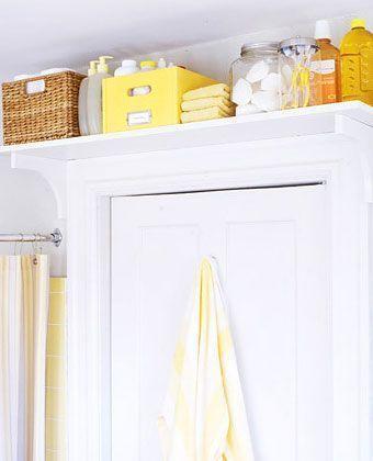 Click Pic for 30 Small Bathroom Ideas on a Budget | Book Shelf above Door | DIY Small Bathroom Remodel