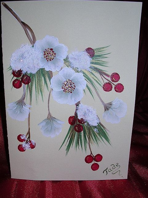 ONE STROKE HOLLY BERRIES AND PINE NEEDLES CHRISTMAS CARD   Flickr - Photo Sharing!