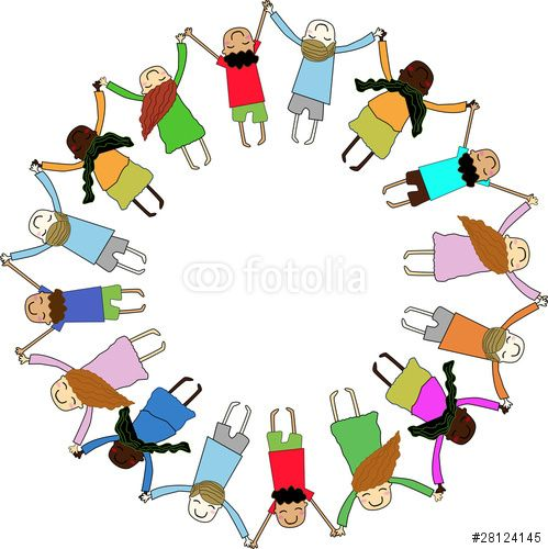 Vector: children holding hands in a circle
