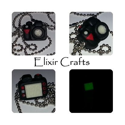 Polymer clay miniature camera necklace