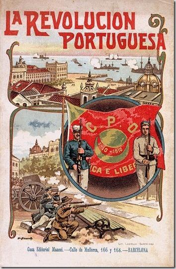 A revolução de 5 de Outubro de 1910 que deu origem à implantação da República em Portugal, numa publicação espanhola