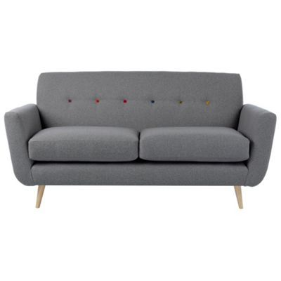 Ben de Lisi Home Small grey 'Hockney' sofa with multi-coloured buttons and natural wood feet- at Debenhams.com