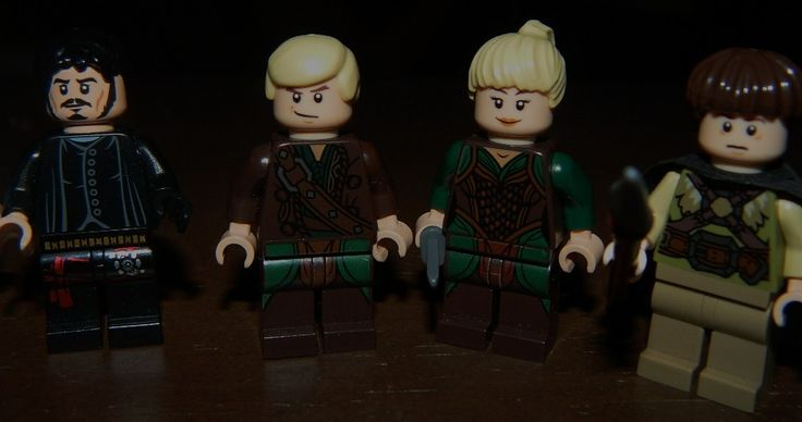 OUAT Minifigs, Made them myself. Left to right, Hook, Pan, Tink, Devin (The Lost Boy Henry cut). For Hook: Bard's head (Hobbit), Snape's torso with 1 black hand (Harry Potter), black hair, ninja legs from 2ndhand legos. For Pan: Draco's head (HP), Luke Skywalker's hair, Kili's Torso (Hobbit), Legolas' legs (Hobbit). For Tink: Hermione's head (HP), Blonde ponytail, Tauriel's legs and torso. For Devin: Flitwick's hair (HP) Frodo's head (LOTR), Dwalin's torso (Hobbit), tan legs, black cape.