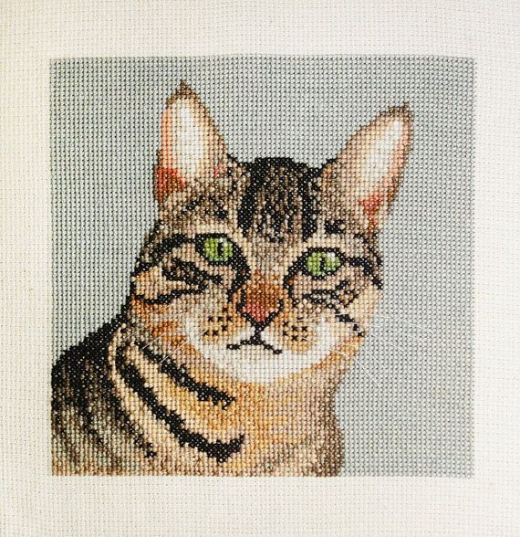 Tabby Cat Cross Stitch Pattern Instant Download Cross Stitch Patterns Cat Cross Stitch Pattern Cat Cross Stitch