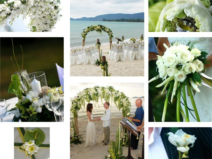 A white and green colour scheme is fantasticly effective against the stunning beach backdrop