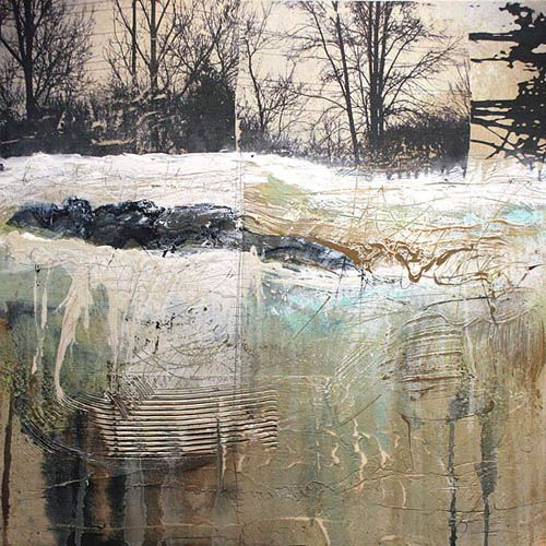"""Shane Norrie, Untitled 2 (Winter Tree Series), mixed media on panel, 24""""x24""""."""