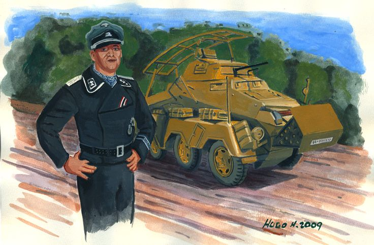 Portrait re-enactor 2nd SS w/ Sdkfz 232 - Recce Armored Car