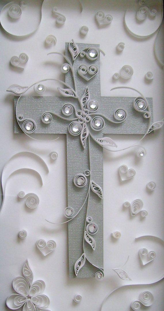 Quilled Cross Art Piece by DeedleDeeCreations on Etsy, $40.00