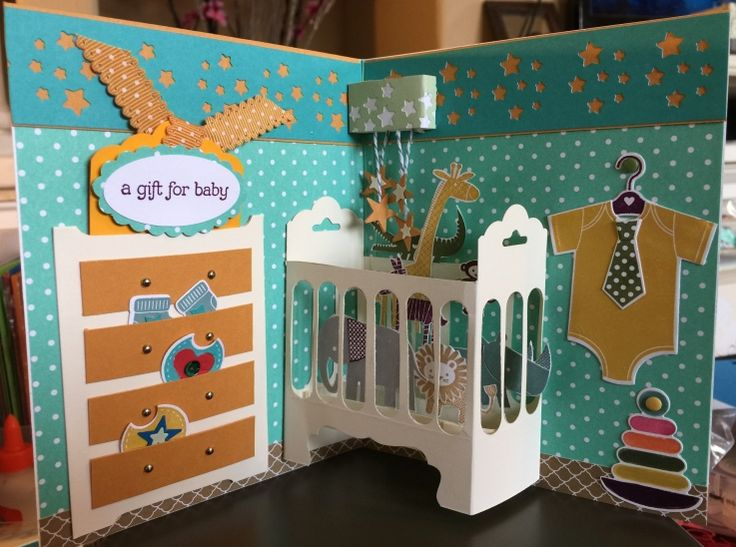 Baby Boy Card by Sharleen Ito Baby Boy card, with Gift Card insert in the dresser and 3D baby crib.