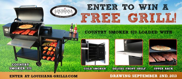 Enter to win a FREE Country Smoker 570, loaded with an upper cooking rack, cold smoker and deluxe front shelf. Draw date is Sept 2nd, 2013. Enter to win today!