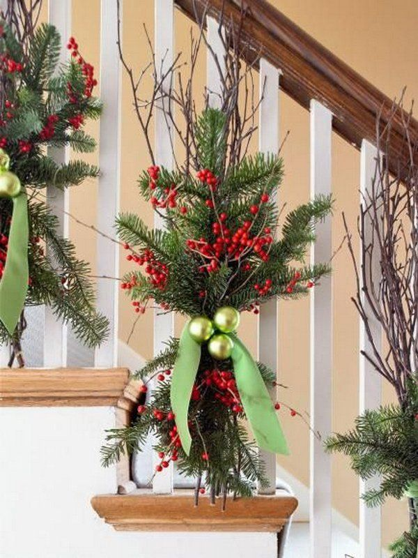 Natural Christmas Decor. Quick and easy winter decorations with evergreens, chartreuse ornaments, twigs of bright red winterberries, and a velvet ribbon.