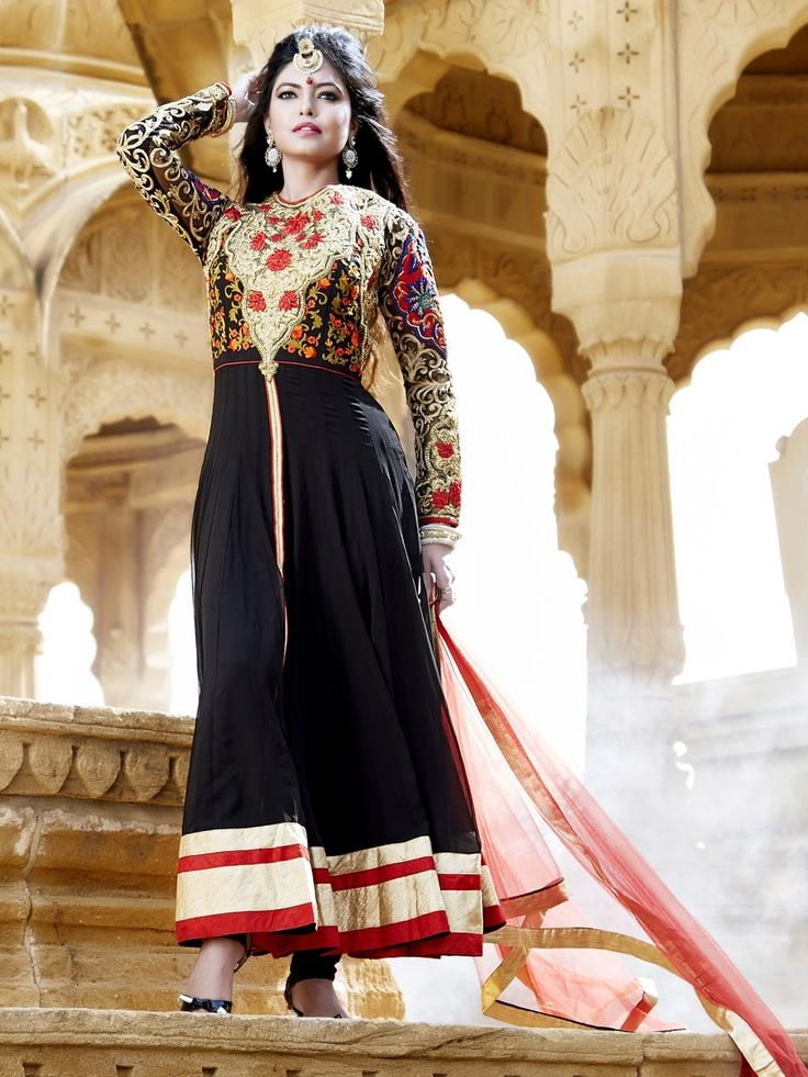 Add a regal touch to your celebration with this stunning outfit. Item Code: SLKD825 Shop here: http://www.bharatplaza.com/women/readymade-suits.html .