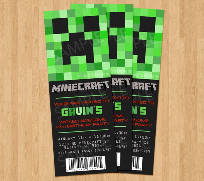 """Minecraft Birthday Party Invitation  **Update: The """"You are invited"""" has been changed to """"Creep On Over"""" (( No way to update image that I could figure out ))"""