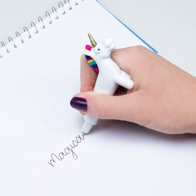 Add a little sparkle to your writing, thanks to the speculative powers of the Unicorn Pen. This elongated steed stands on its own four hooves and splits neatly