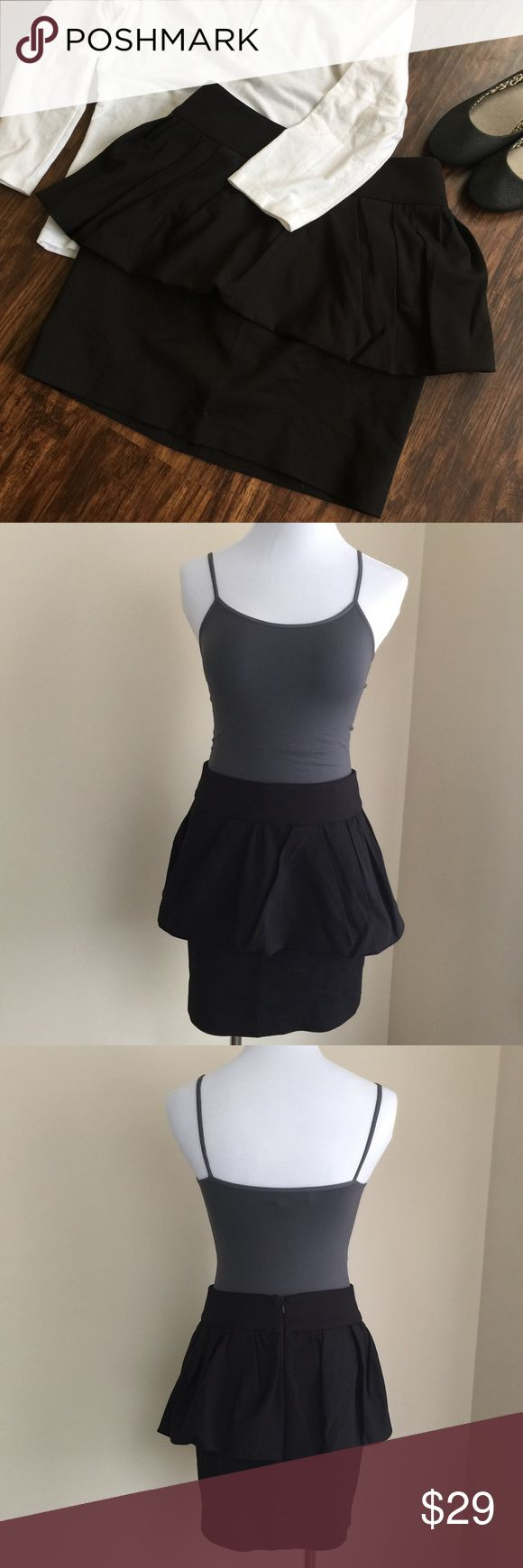 "🔵SALE Zara black peplum skirt sz S 🔵SALE was $25 now $15.  Zara Woman black peplum skirt, size S.  Mini length, hidden back zip, wide waistband.  Condition:  excellent pre-loved.  Material:  51% cotton/46% polyester/3% elastane.  Measurements (approximate, taken laying flat):  length 16"", flat waist 14"", flat hip 16.5"". Zara Skirts Mini"