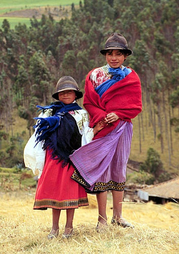 Near Cotopaxi, Ecuador.Two young girls stand by the side of the road, somewhere between Quito and Cotopaxi.