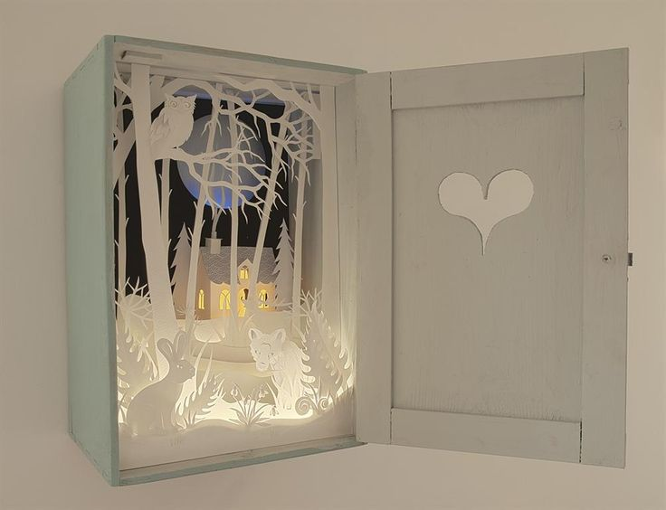 paper cut scene in cabinet ~ love this!
