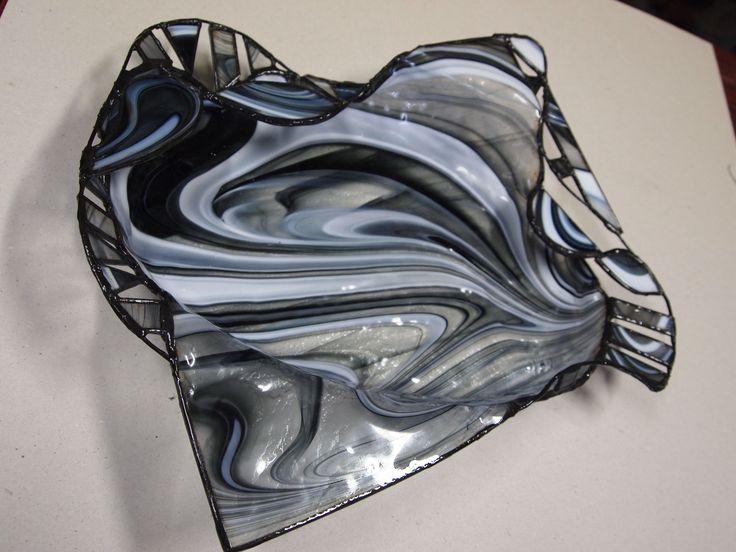 Kombinovaná technika spekania skla a vitráže-miska