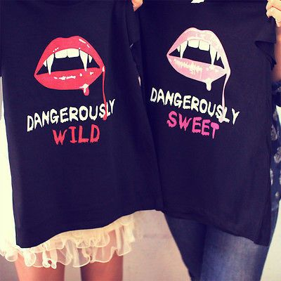 Best Friend Matching T-shirts DangerouslySweetDangerously Wild - Order includes two tops for two friends - UniqueMatching designs for best friends Premium Soft Light Weight Shirt: 100% Cotton Looking