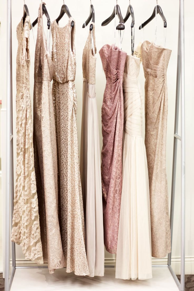 David's Bridal mix and match lace, tulle and sequin bridesmaid dresses via @MelRodStyle