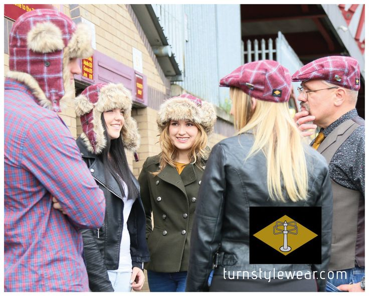 Our caps and trapper hats. Our super warm and cosy trapper hat in bespoke claret and blue tweed. With quilted lining and premium faux fur trim. turnstylewear.com