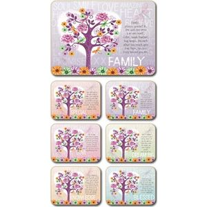 Lisa Pollock Tree of Love placemats and coasters, set of 4