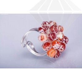Bijuterii din pietre semipretioase Cumpără Inel ajustabil model floare cu agat roșu fațetat, la 59,00RON, roșu, Tip bijuterie coliere, brăţări, cercei din argint si pietre naturale