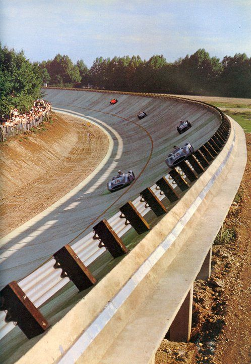 This is the old banking that they used many years ago at the Monza racing circuit in Italy. In the young adult novel SKID, Samantha's mistake on the modern portion of this old circuit gives her rival the lead in points for the World Championship. #skidthebook