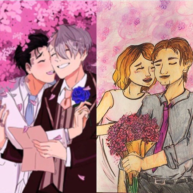 【eri5aunders】さんのInstagramをピンしています。 《Saw this illustration of Yuri and Victor getting married under cherry blossoms and had to do one of me and my fiancé . Our dream is to go to Japan and I want a cherry blossom themed wedding. 💖🌸 drawing on the left is done by Niyokul on Tumblr  Found by @yurionice #yurionice #illustration #anime #yuurixviktor #cherryblossoms》