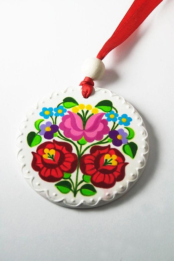 Handpainted Kalocsa Wooden Round Necklace