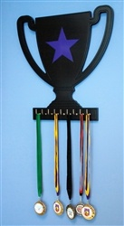Black trophy wall display with purple star. 9 hooks for your medals.  Custom made for your kids room, game room or garage. Sport Interiors creates high quality sports sport furniture and accessories. We can customize our products with your team's favorite colors! Made in the U.S.A.