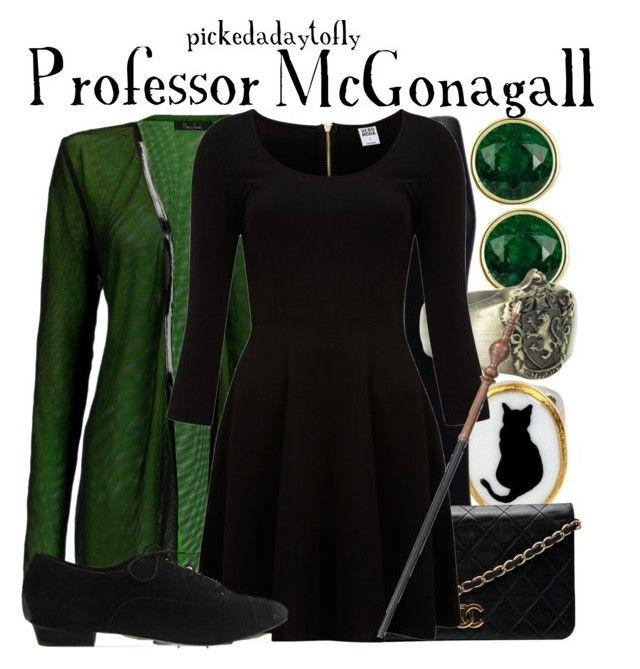 """Professor McGonagall"" by pickedadaytofly ❤ liked on Polyvore featuring Marios Schwab, Materia Prima, Uniqlo, Chanel, Vero Moda, Y.R.U., OPTIONS, professor mcgonagall and harry potter"