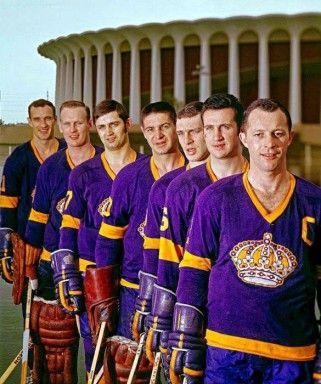 Members of the 1967-68 LA Kings - Bill White, Wayne Rutledge, Bill Flett, Terry Sawchuk, Real Lemieux, Ed Joyal, Bob Wall