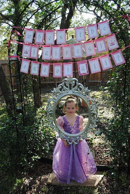 Love the idea of the frame snow white party whose the fairest of them all banner