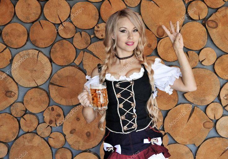 Beautiful Woman Dress Two Glasses Beer Oktoberfest Woman – Stock Photo , #affili… – Psd Templates Flyers
