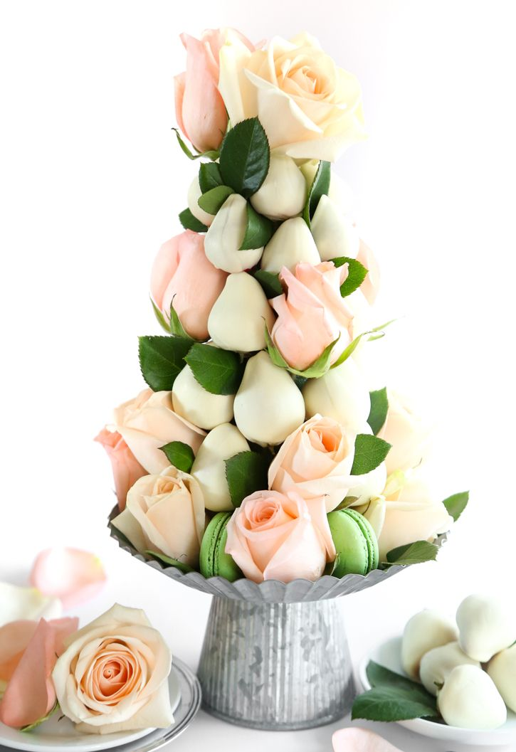 DIY Dipped Strawberry and Rose Tower