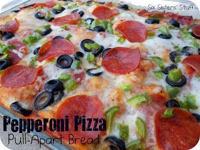 Pepperoni Pizza Pull Apart Bread: Monkey Bread, Recipe, Pepperoni Pizza, Breads, Pull Apart Bread, Six Sisters Stuff